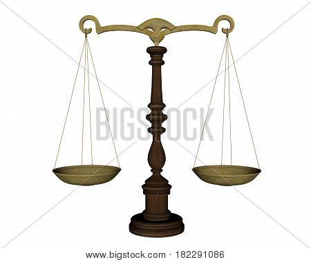 Ancient justice balance isolated in white background - 3D render
