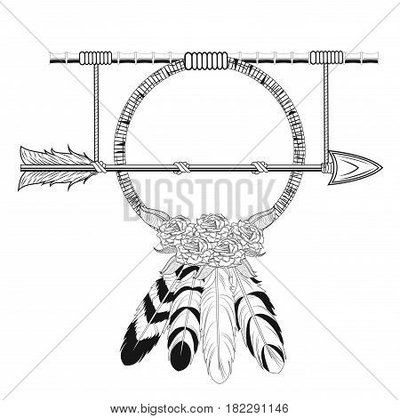 dream catcher arrow rustic tribal style vector illustration eps 10