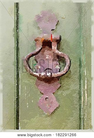 Digital watercolor painting of an aged rusty door knocker on a green weathered and textured door with space for text.
