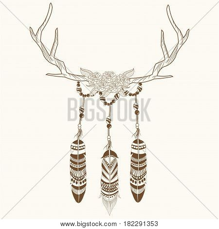 free spirit horns flowers and feathers decorative vector illustration eps 10