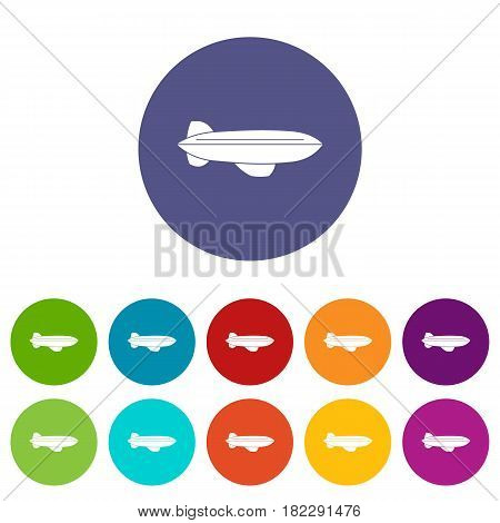 Blimp aircraft flying icons set in circle isolated flat vector illustration