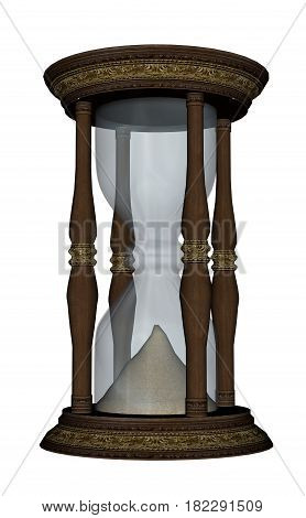 Wooden hourglass isolated in white background - 3D render