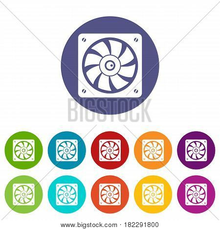 Computer fan icons set in circle isolated flat vector illustration