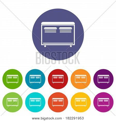 Home equipment for heating icons set in circle isolated flat vector illustration