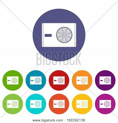 Electric heater icons set in circle isolated flat vector illustration