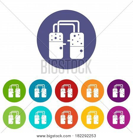 Chemical beaker icons set in circle isolated flat vector illustration