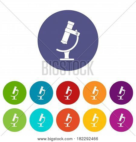 Containers connected with tubes icons set in circle isolated flat vector illustration