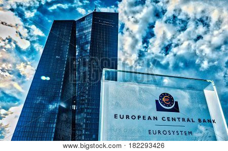 Low angle view of the European Central Bank in Frankfurt Main