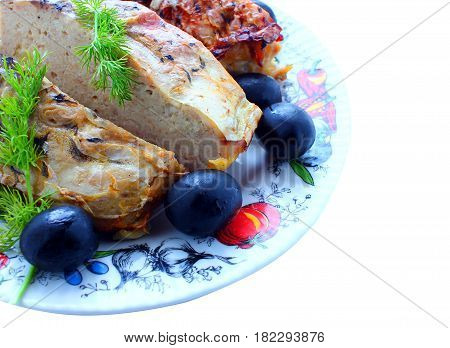 Food, a dish of fish, baked on fire, dill, olives