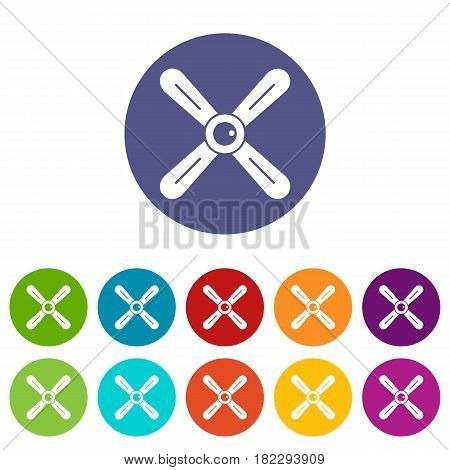 Electric motor icons set in circle isolated flat vector illustration