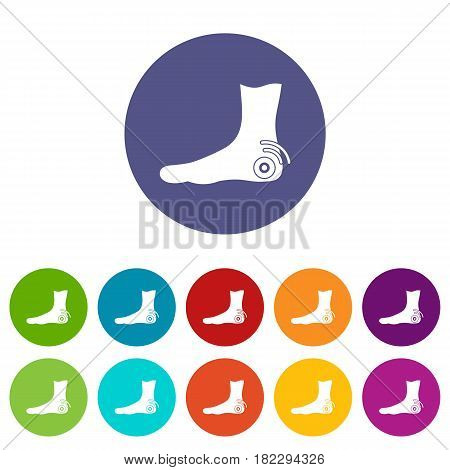 Foot heel icons set in circle isolated flat vector illustration
