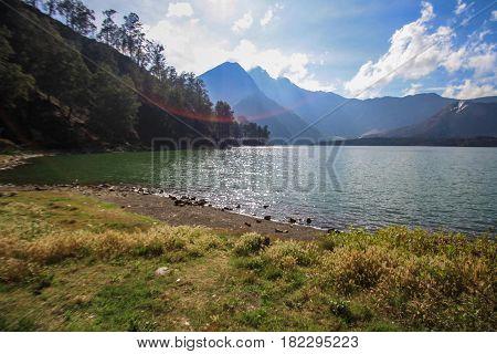 View of Segara Anak at  Mt Rinjani, Lombok Indonesia