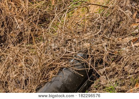 Black automobile bumper discarded in woodland area in South Korea laying in dead brown weeds.