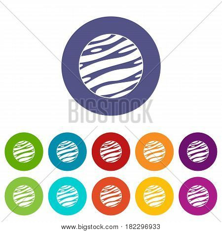 Big planet icons set in circle isolated flat vector illustration