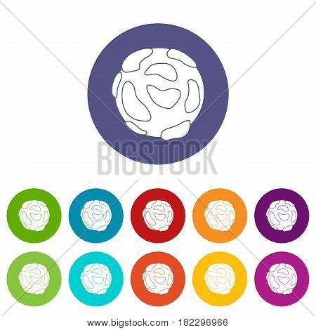 Beautiful planet icons set in circle isolated flat vector illustration
