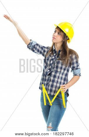 Young woman architect builder verify construction site work. Isolated on white background.