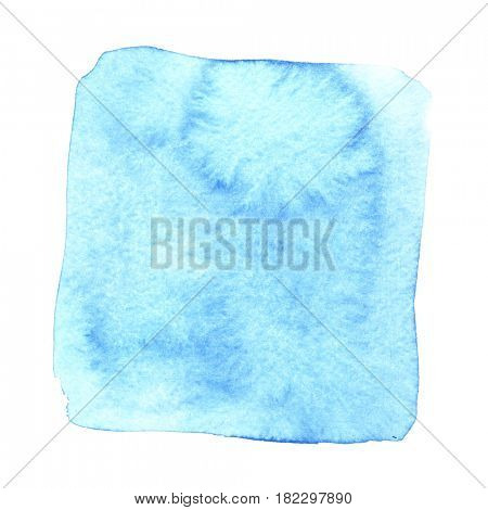 Blue wry watercolor square with stains. Abstract element for your design