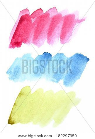 Set of watercolor doodle brush strokes (Red, blue, green)