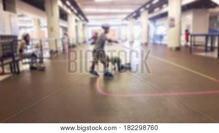 Blurred Background Children Play Sketch Or Roller Blade