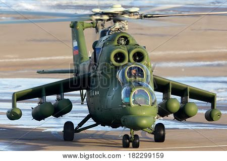 LYUBERTSY, MOSCOW REGION, RUSSIA - MAY 25, 2015: Mil Mi-35MS helicopter of Russian Air Force at Panki airfiled.