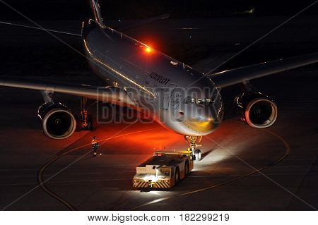 SHEREMETYEVO, MOSCOW REGION, RUSSIA - NOVEMBER 20, 2011: Aeroflot Airbus A330 standing at Sheremetyevo international airport.