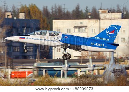 CHKALOVSKY, MOSCOW REGION, RUSSIA - OCTOBER 26, 2013: Aero L-39C Albatros of Roscosmos taking off at Chkalovsky.