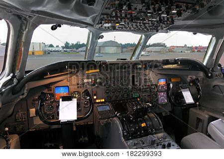 SHEREMETYEVO, MOSCOW REGION, RUSSIA - JULY 12, 2012: Cockpit of Douglas DC-8F of Air Transort International standing at Sheremetyevo international airport.
