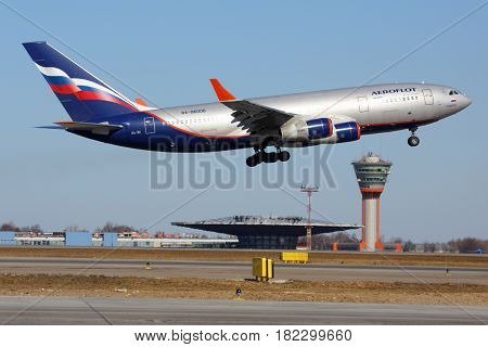 SHEREMETYEVO, MOSCOW REGION, RUSSIA - MARCH 29, 2014: Ilyushin IL-96-300 rotating at Sheremetyevo international airport.