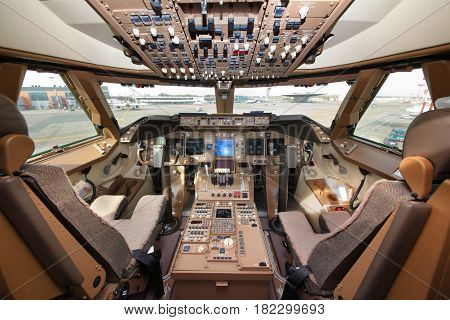 SHEREMETYEVO, MOSCOW REGION, RUSSIA - MAY 22, 2012: Cockpit of Boeing 747-800 of Air Bridge Cargo standing at Sheremetyevo international airport.
