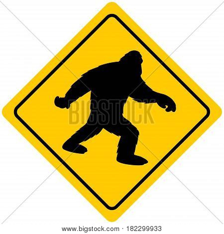 A vector illustration of a Bigfoot crossing sign.