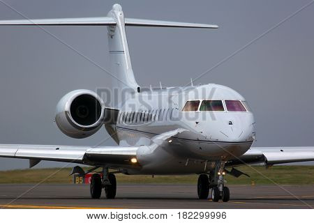 VNUKOVO, MOSCOW REGION, RUSSIA - JUNE 16, 2011: Private Bombardier Global Express taxiing at Vnukovo international airport.