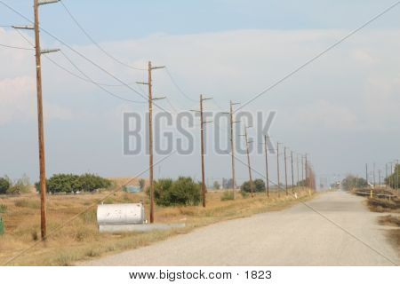 barren country road lined by telephone poles poster