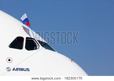 ZHUKOVSKY, MOSCOW REGION, RUSSIA - AUGUST 28, 2011: Airbus A380 in Zhukovsky during MAKS-2011 airshow.