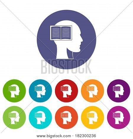 Head with open book icons set in circle isolated flat vector illustration