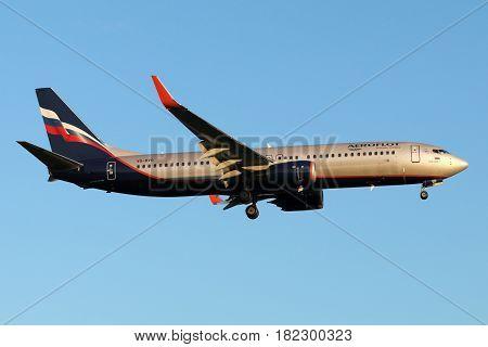 SHEREMETYEVO, MOSCOW REGION, RUSSIA - JULY 13, 2015: Aeroflot Boeing 737-800 VQ-BVO landing at Sheremetyevo international airport.