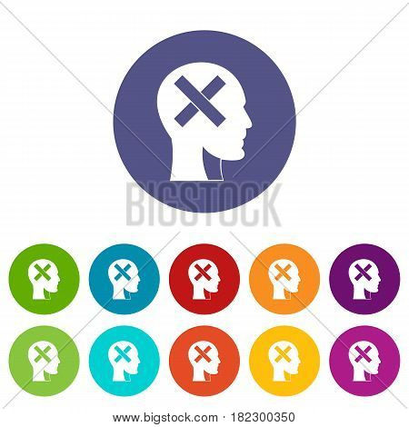 Human head with cross inside icons set in circle isolated flat vector illustration