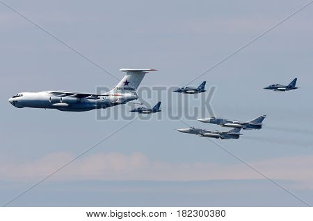 KHIMKI, MOSCOW REGION, RUSSIA - MAY 9, 2010: Ilyushin IL-78, Yakovlev Yak-130, Sukhoi SU-24M of Russian Air Force during Victory Day parade.