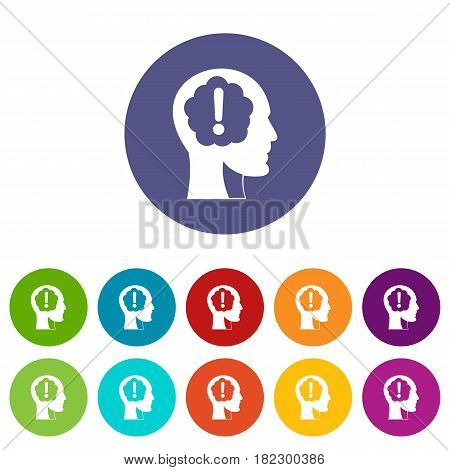 Head with exclamation mark inside icons set in circle isolated flat vector illustration