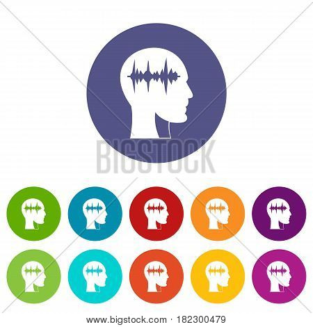 Hourglass in head icons set in circle isolated flat vector illustration