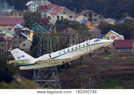 SOCHI, RUSSIA - OCTOBER 31, 2012: Private Cessna 680 Citation Sovereign taking off at Sochi-Adler international airport.