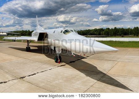 KUBINKA, MOSCOW REGION, RUSSIA - JUNE 17, 2015: Tupolev Tu-22M3 RF-94142 bomber standing at Kubinka air force base during Army-2015 forum