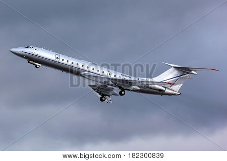 ZHUKOVSKY, MOSCOW REGION, RUSSIA - DECEMBER 19, 2013: Tupolev Tu-134 RA-65700 corporate jet takes off at Zhukovsky.