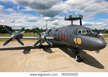 KUBINKA, MOSCOW REGION, RUSSIA - JUNE 17, 2015: Naval Ilyushin IL-38N RF-75355 standing at Kubinka air force base during Army-2015 forum