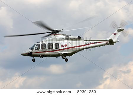 LYUBERTSY, MOSCOW REGION, RUSSIA - JULY 17, 2015: Russian railways Agusta A139 helicopter RA-01991 at Panki airfiled.