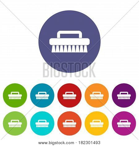 Cleaning hands icons set in circle isolated flat vector illustration