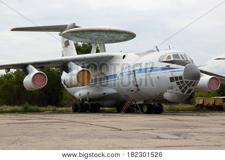 ZHUKOVSKY, MOSCOW REGION, RUSSIA - AUGUST 12, 2015: Ilyushin IL-976 76455 special tests aircraft standing at Zhukovsky.