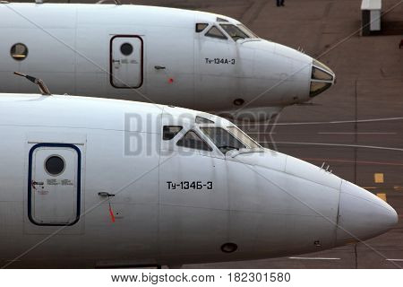 SHEREMETYEVO, MOSCOW REGION, RUSSIA - NOVEMBER 20, 2011: Tupolev Tu-134A-3 and Tu-134B-3 standing at Sheremetyevo international airport.