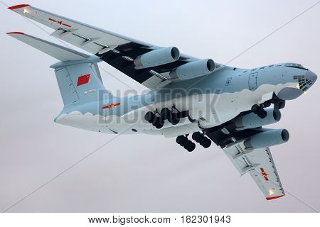 ZHUKOVSKY, MOSCOW REGION, RUSSIA - DECEMBER 19, 2013: lyushin IL-76MD RA-78699 for China air force makes test flight in Zhukovsky.