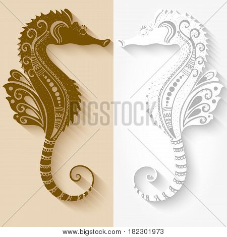 Vector illustration of Sea Horses mehndi ornament. Traditional indian style, ornamental floral elements for henna tattoo, stickers, mehndi and yoga design, cards and prints. Abstract floral vector illustration.