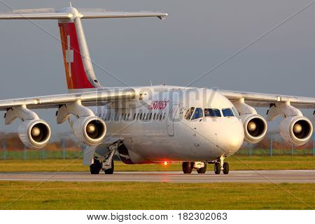 PRAGUE, CZECH REPUBLIC - NOVEMBER 2, 2012: Swiss airlines Bae-146 taxiing at Ruzyine airport.